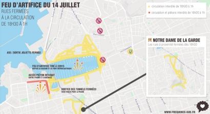 Feu d'artifice du 14 juillet à Marseille: le plan et le détail des rues fermées à la circulation