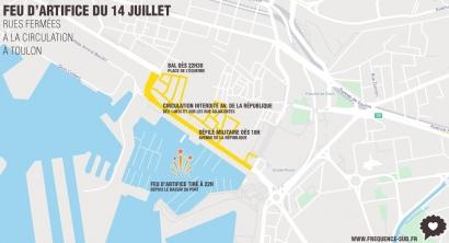 Feu d'artifice du 14 juillet à Toulon: Informations pratique et le détail des rues fermées à la circulation