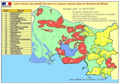 Risques incendies: 14 massifs interdits d'accès ce jeudi 18 juillet dans les Bouches du Rhône