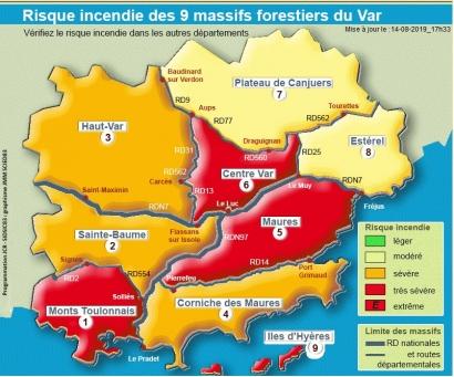 Var : De nombreux massifs fermés aujourd'hui, jeudi 15 août, pour risque incendie