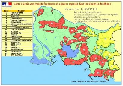 Risques incendie: Les Calanques, Porquerolles et 18 autres massifs des Bouches du Rhône et du Var interdits ce lundi