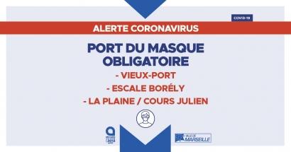 La carte des zones où le port du masque est obligatoire à Marseille