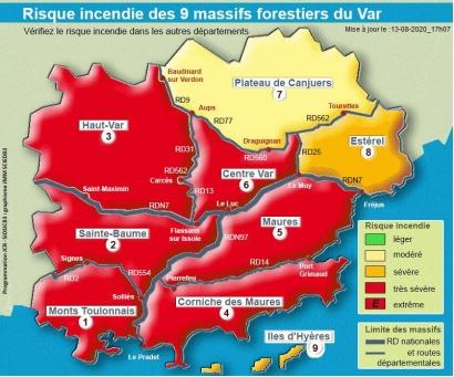 Risques incendies: 6 massifs fermés au public ce vendredi dans le Var