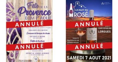 La fête de la Provence et la nuit du Rosé annulés à Lorgues