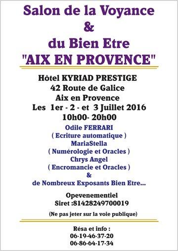 Salon de la voyance et du bien etre du 01 07 2016 au 03 for Salon de la voyance
