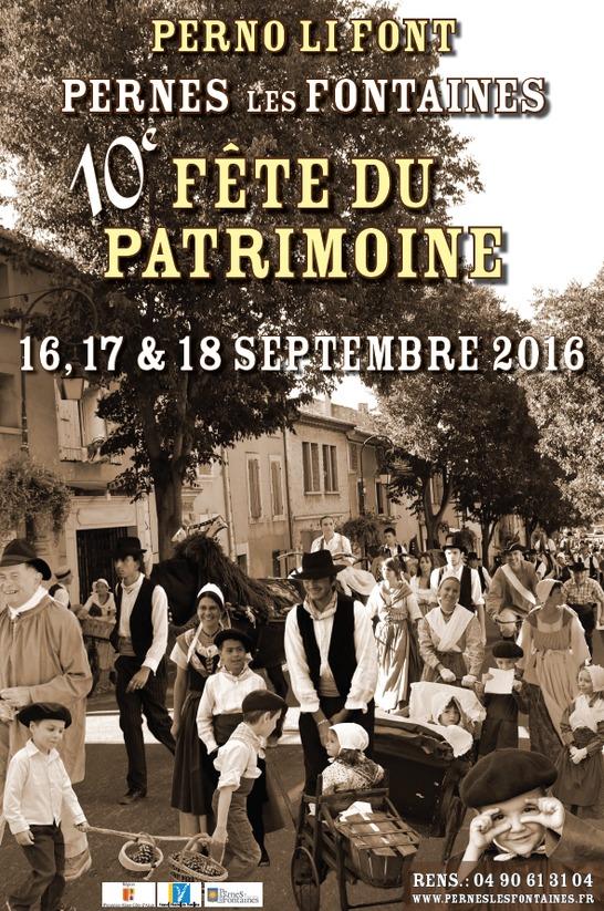 F te du patrimoine du 17 09 2016 au 18 09 2016 pernes - Office du tourisme pernes les fontaines ...