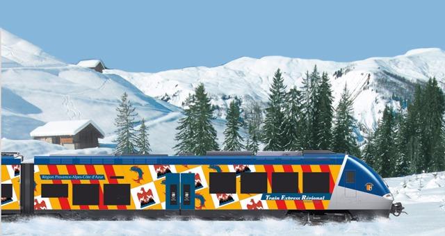 Le train des neiges, parfait pour une journ�e de ski