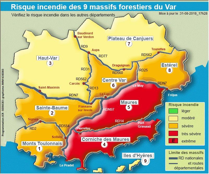 carte risque incendie var Var: Deux massifs fermés aujourd'hui, dimanche 1er septembre, pour