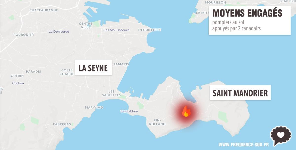 Feu à Saint-Mandrier, des habitations évacuées — Var